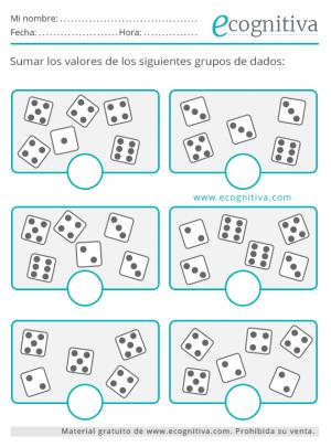 ejercicios de cálculo para mayores con dados