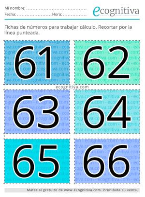ecognitiva tarjetas de números