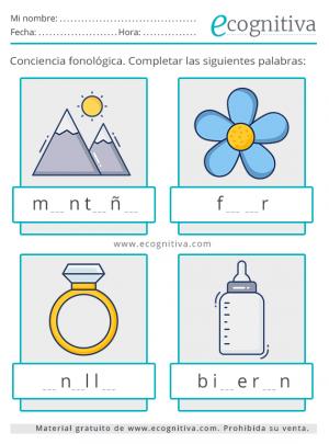 ejercicios de conciencia fonologica para imprimir