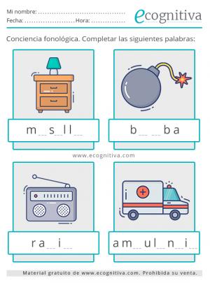 láminas de conciencia fonológica