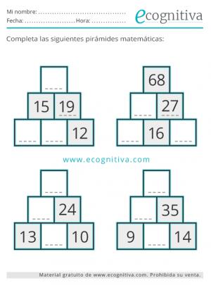 ejercicios de pirámides de números gratis