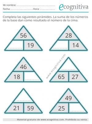 pirámide de cálculo de sumas y restas