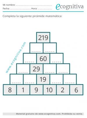 pirámide numérica para imprimir