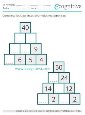 sumas y restas ejercicios de pirámides
