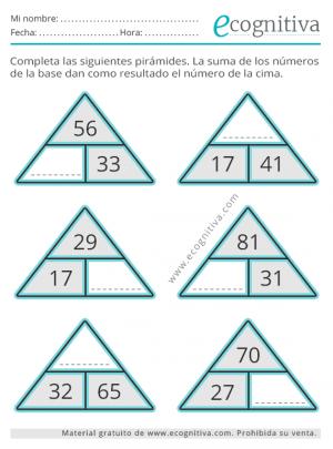 sumas para mayores piramide