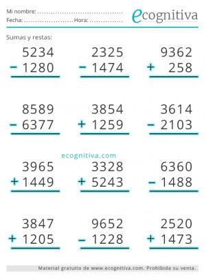 sumas y restas para imprimir