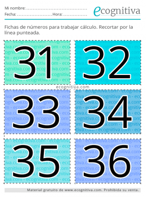 tarjetas de cálculo para mayores