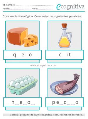 conciencia fonologica alimentos