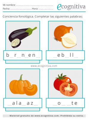 conciencia fonologica verduras